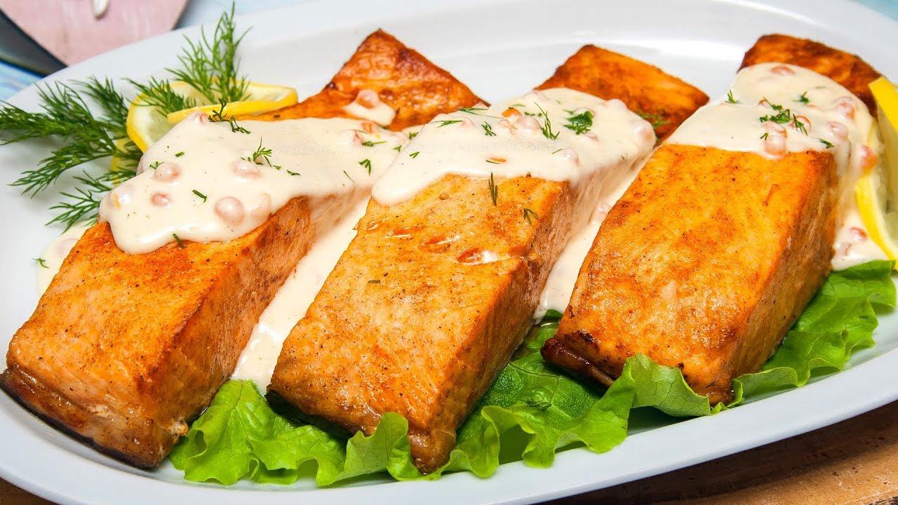 Рецепт атлантического лосося в сливочном соусе с макаронами