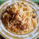 Рис с мясом свинины на мангале, пошаговый кулинарный рецепт с фото