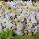 Салат с ананасом и курицей, рецепт с фото